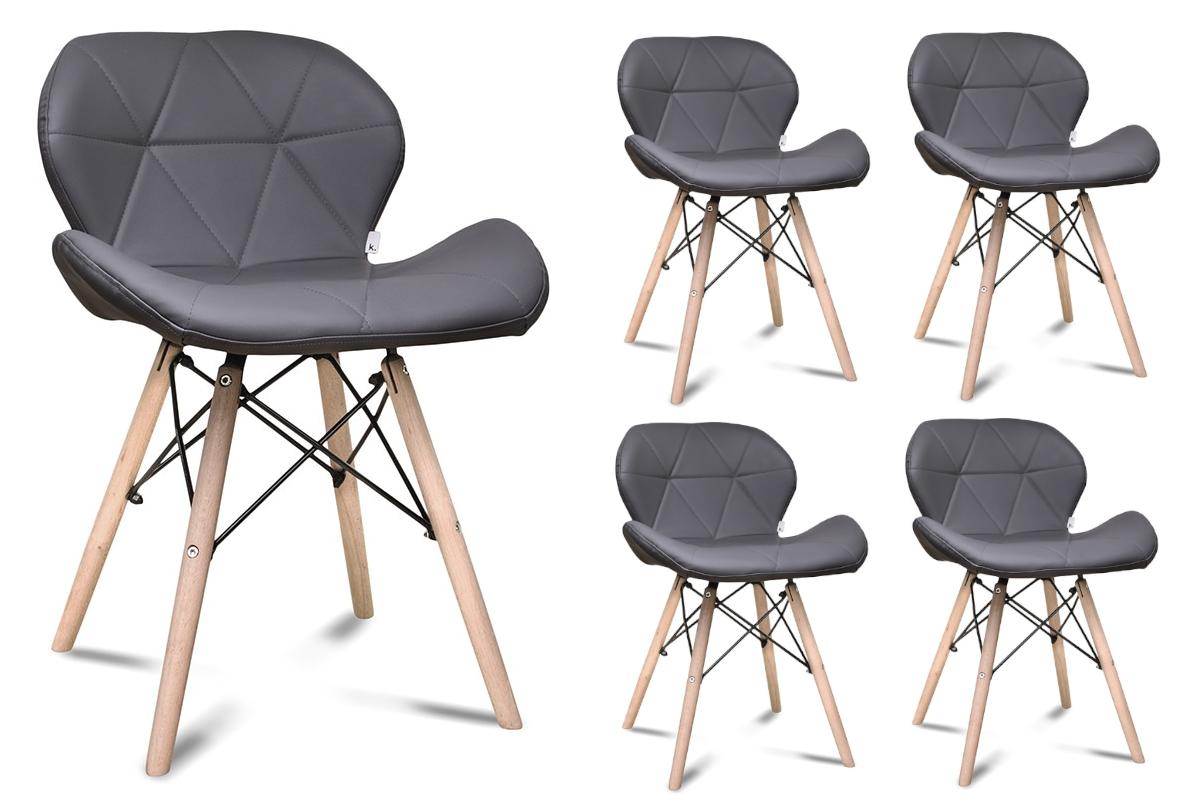 Skandynawskie krzesło na drewnianym stelażu ekoskóra szare