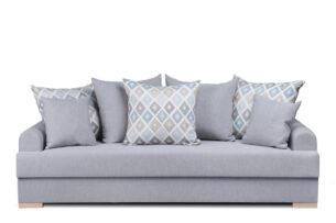BORAS, https://konsimo.pl/kolekcja/boras/ Sofa z funkcją spania DL z dodatkowymi poduszkami szara szary - zdjęcie