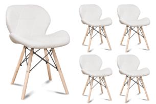 TRIGO, https://konsimo.pl/kolekcja/trigo/ Zestaw 4 skandynawskich krzeseł ekoskóra białych biały - zdjęcie