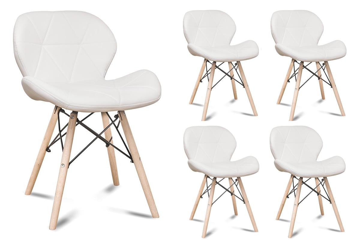Zestaw 4 skandynawskich krzeseł ekoskóra białych