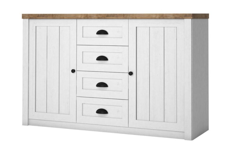 LEMAS Komoda z półkami i szufladami styl prowansalski biała biały/ciemny dąb - zdjęcie 0