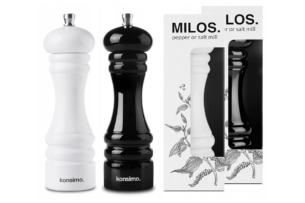MILOS, https://konsimo.pl/kolekcja/milos/ Zestaw młynków 2 szt. biały/czarny - zdjęcie