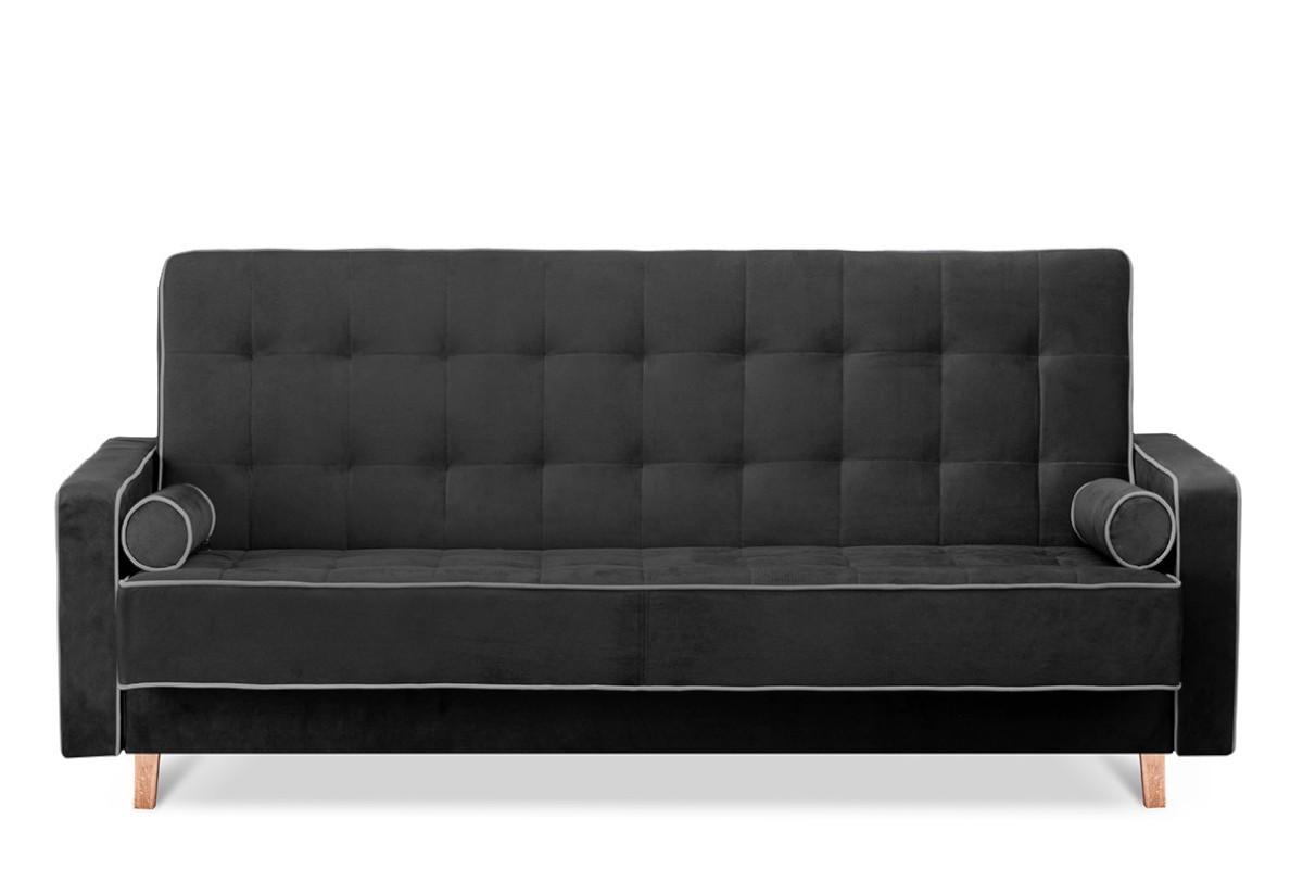 Czarna sofa 3 osobowa z funkcją spania