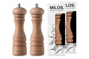 MILOS, https://konsimo.pl/kolekcja/milos/ Zestaw młynków 2 szt. buk olejowany - zdjęcie
