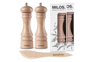 MILOS, https://konsimo.pl/kolekcja/milos/ Zestaw młynków 2 szt. + nożyk do masła buk - zdjęcie