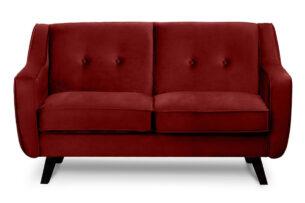TERSO, https://konsimo.pl/kolekcja/terso/ Skandynawska sofa 2 osobowa welur czerwona bordowy - zdjęcie