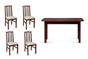 CIBUS, EDERE, https://konsimo.pl/kolekcja/cibus-edere/ Rozkładany klasyczny stół z 4 krzesłami do jadalni orzech orzech/jasny beż|orzech - zdjęcie