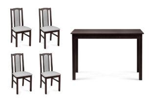 CIBUS, EVENI, https://konsimo.pl/kolekcja/cibus-eveni/ Klasyczny stół do jadalni z 4 krzesłami venge wenge/jasny szary|wenge - zdjęcie