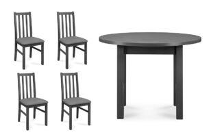 QUATUS, MENZO, https://konsimo.pl/kolekcja/quatus-menzo/ Zestaw krzesła 4 szt. + stół szary/jasny szary|szary - zdjęcie
