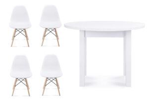 NEREA, MENZO, https://konsimo.pl/kolekcja/nerea-menzo/ Zestaw biały okrągły stół i krzesła 4 szt. w stylu skandynawskim biały - zdjęcie