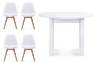 BESO, MENZO, https://konsimo.pl/kolekcja/beso-menzo/ Zestaw do jadalni stół okrągły i 4 krzesła białe biały - zdjęcie