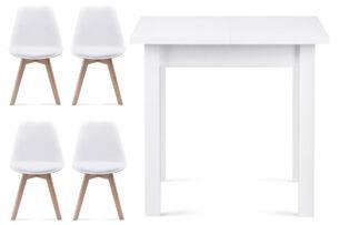 BESO, SALUTO, https://konsimo.pl/kolekcja/beso-saluto/ Zestaw do jadalni stół i 4 krzesła białe biały - zdjęcie