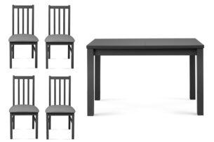 QUATUS, SILVA, https://konsimo.pl/kolekcja/quatus-silva/ Zestaw krzesła 4 szt.  + stół szary/jasny szary|szary - zdjęcie