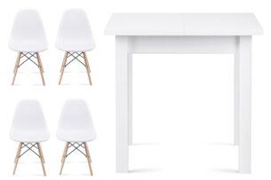 NEREA, SALUTO, https://konsimo.pl/kolekcja/nerea-saluto/ Zestaw biały rozkładany mały stół i białe krzesła 4 szt. w stylu skandynawskim biały - zdjęcie