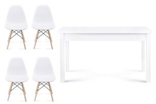NEREA, CENARE, https://konsimo.pl/kolekcja/nerea-cenare/ Zestaw rozkładany  stół i białe krzesła 4 szt. w stylu skandynawskim biały - zdjęcie