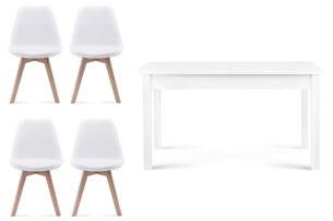 BESO, CENARE, https://konsimo.pl/kolekcja/beso-cenare/ Zestaw do jadalni rozkładany stół i 4 krzesła białe biały - zdjęcie
