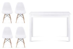 NEREA, EVENI, https://konsimo.pl/kolekcja/nerea-eveni/ Zestaw prosty biały stół i 4 białe krzesła w stylu skandynawskim biały - zdjęcie