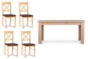 CRAM, AVERO, https://konsimo.pl/kolekcja/cram-avero/ Duży rozkładany stół z 4 krzesłami bukowymi buk/ciemny brąz|dąb - zdjęcie