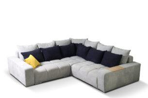 ALZA, https://konsimo.pl/kolekcja/alza/ Duży narożnik prawy z dekoracyjnymi poduszkami i drewnianą podstawką szary jasny szary/czarny/żółty - zdjęcie