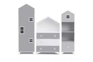 MIRUM, https://konsimo.pl/kolekcja/mirum/ Zestaw meble chłopięce domki szare 3 elementy biały/szary - zdjęcie