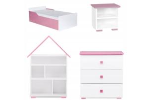 PABIS, https://konsimo.pl/kolekcja/pabis/ Zestaw meble do pokoju dziewczynki różowe 4 elementy biały/różowy - zdjęcie