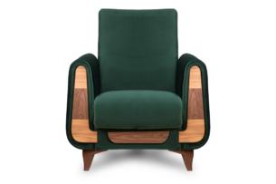 GUSTAVO, https://konsimo.pl/kolekcja/gustavo/ Zielony fotel do salonu welur zielony - zdjęcie