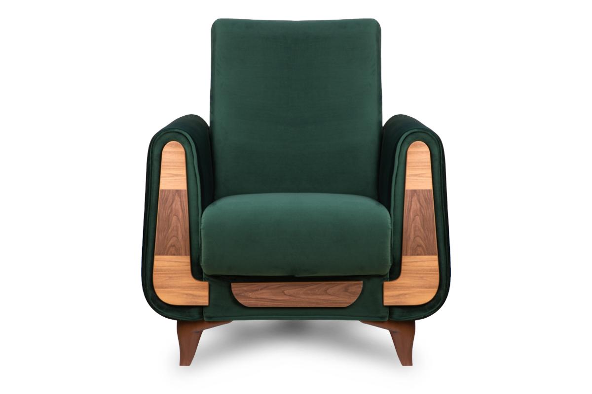 Zielony fotel do salonu welur