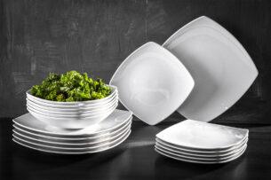 CARLINA, https://konsimo.pl/kolekcja/carlina/ Serwis obiadowy kwadratowy 6 os. 18 elementów biały biały - zdjęcie