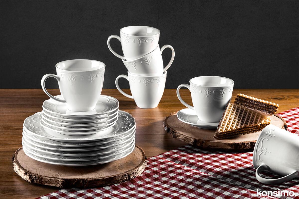 Klasyczny serwis kawowy biały 18 elementów  dla 6 osób