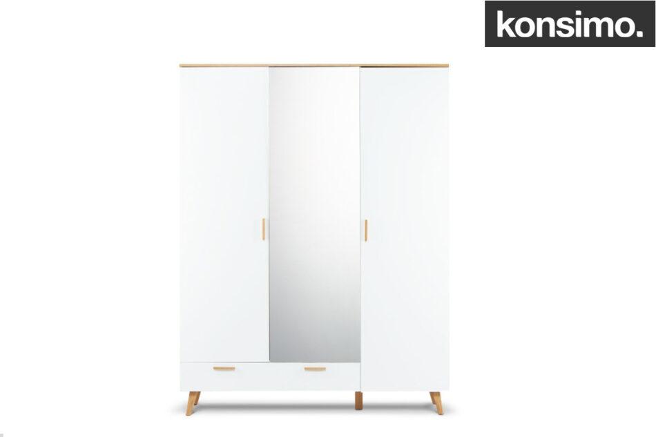 FRISK Biała szafa z lustrem w stylu skandynawskim biały/dąb naturalny - zdjęcie 14