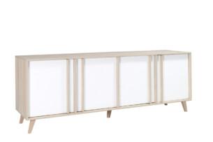 HONIS, https://konsimo.pl/kolekcja/honis/ Duża minimalistyczna komoda podwójna 220 cm biała / dąb dąb naturalny/biały - zdjęcie