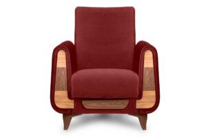 GUSTAVO, https://konsimo.pl/kolekcja/gustavo/ Czerwony fotel do salonu welur bordowy - zdjęcie
