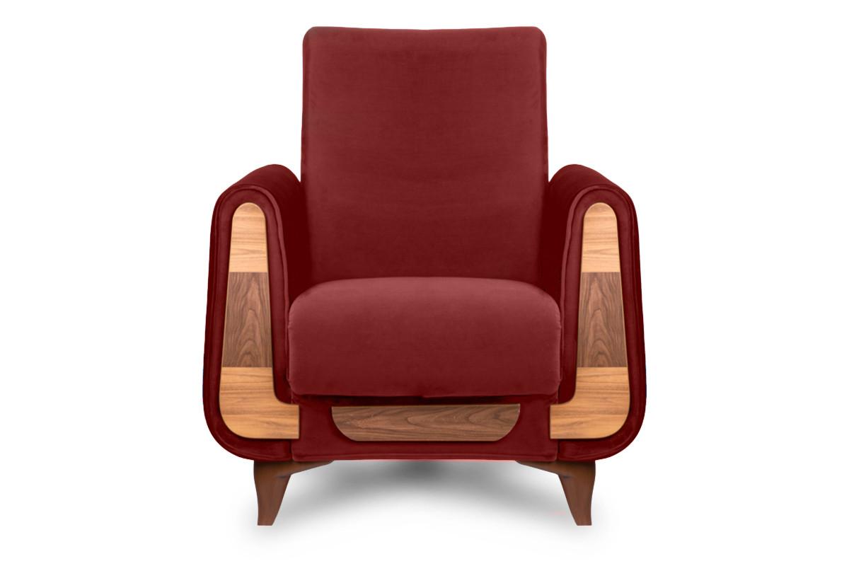 Czerwony fotel do salonu welur
