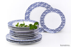 LIVIDUS, https://konsimo.pl/kolekcja/lividus/ Zestaw obiadowy, 4 os. (12 el) biały/niebieski - zdjęcie