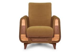GUSTAVO, https://konsimo.pl/kolekcja/gustavo/ Żółty fotel do salonu welur żółty - zdjęcie