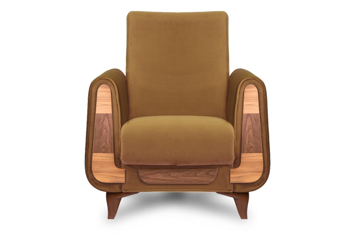 Żółty fotel do salonu welur
