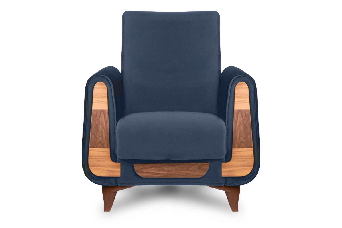 Granatowy fotel do salonu welur