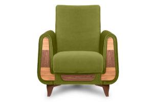 GUSTAVO, https://konsimo.pl/kolekcja/gustavo/ Oliwkowy fotel do salonu welur oliwkowy - zdjęcie