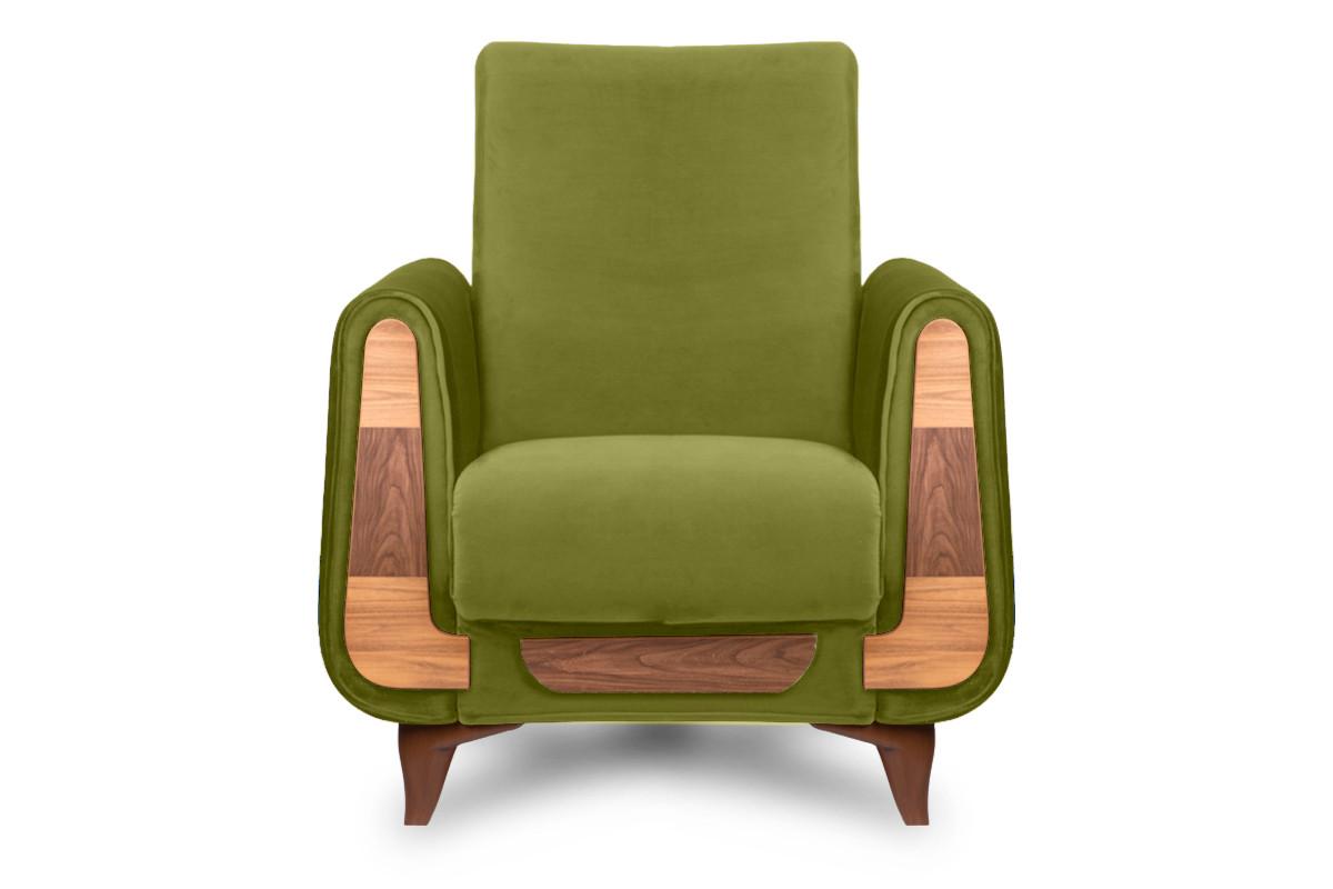 Oliwkowy fotel do salonu welur