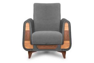 GUSTAVO, https://konsimo.pl/kolekcja/gustavo/ Szary fotel do salonu welur antracytowy - zdjęcie