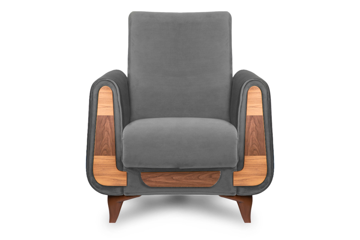 Szary fotel do salonu welur