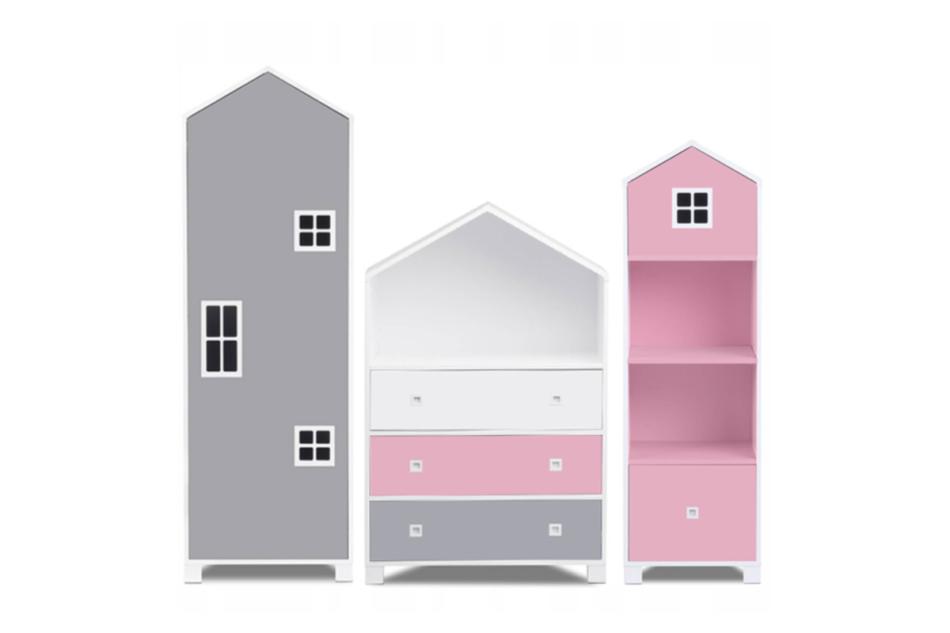 MIRUM Zestaw meble dla dziewczynki domki różowe 3 elementy biały/różowy/szary - zdjęcie 0