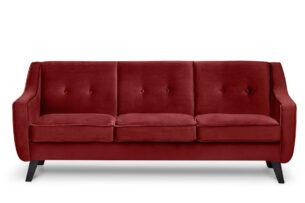 TERSO, https://konsimo.pl/kolekcja/terso/ Skandynawska sofa 3 osobowa welur czerwona bordowy - zdjęcie