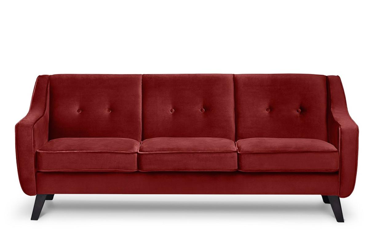 Skandynawska sofa 3 osobowa welur czerwona