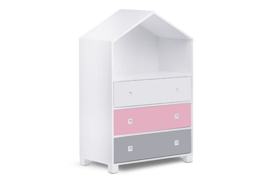 MIRUM Zestaw meble dla dziewczynki domki różowe 3 elementy biały/różowy/szary - zdjęcie 1