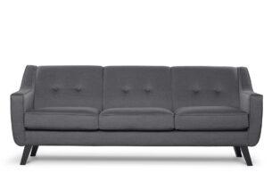 TERSO, https://konsimo.pl/kolekcja/terso/ Skandynawska sofa 3 osobowa tkanina plecionka szara ciemny szary - zdjęcie