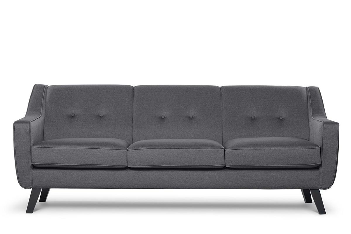 Skandynawska sofa 3 osobowa tkanina plecionka szara