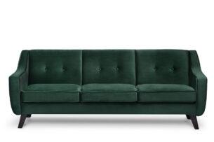 TERSO, https://konsimo.pl/kolekcja/terso/ Skandynawska sofa 3 osobowa welur butelkowa zieleń ciemny zielony - zdjęcie