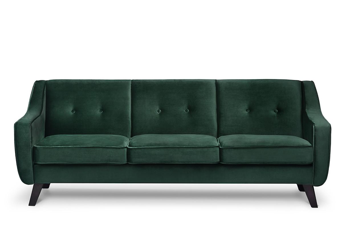 Skandynawska sofa 3 osobowa welur butelkowa zieleń