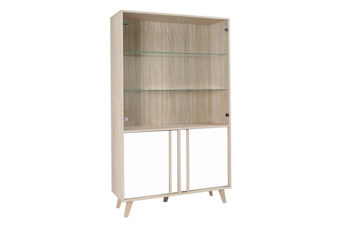 Minimalistyczna witryna z zamykanymi półkami biała / dąb